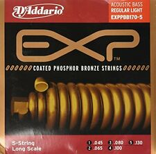 D'Addario Phosphor Bronze Coated 5-String Acoustic Bass, Long Scale, 45-130