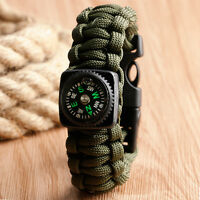 Sport Army Paracord Wristband Survival Bracelet Compass Buckle Military Hiking