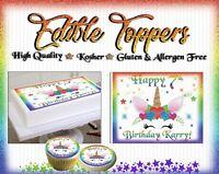 Rainbow Unicorn face Birthday Cake topper Edible paper sugar sheet cupcakes easy
