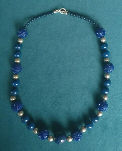 "LAPIS NECKLACE 20""  CARVED BEADS STERLING 925 SILVER UNIQUE"