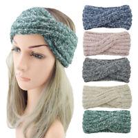 Woemn Girls Mohair Cross Knot Knitted Winter Ear Warmer Handmade Headwrap BAND