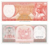 Suriname 10 Gulden 1963 P-121b Banknotes UNC