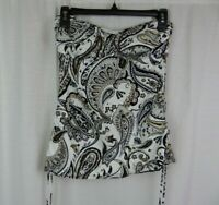Lands End Womens Paisley Print Strapless Tankini Top Swim Suit Ruched Sides Sz 4