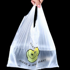 100PCS Carry Out Retail Supermarket Grocery White Plastic Shopping Bag Smile