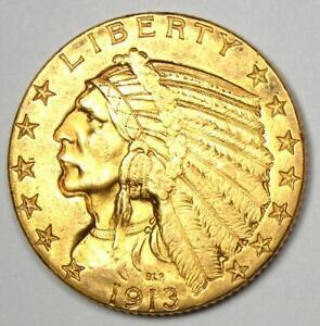 1913 Indian Gold Half Eagle $5 Coin - AU Details - Rare Coin!