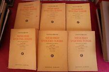 CHATEAUBRIAND MEMOIRES D'OUTRE TOMBE 6 VOLUMES  éd GARNIER 1947