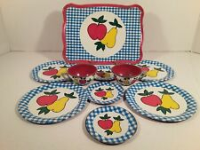 OHIO ART Tin Litho Tea Set 10 pieces Fruit Apple & Pear pattern Vintage