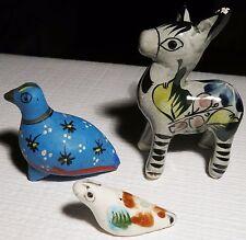Vintage 1960s Handmade Mexico Miniature 2 Birds 1 Donkey Clay Ceramic Pottery