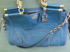 Coach Teal Woven & Leather MADISON CAROLINE BAG Preowned