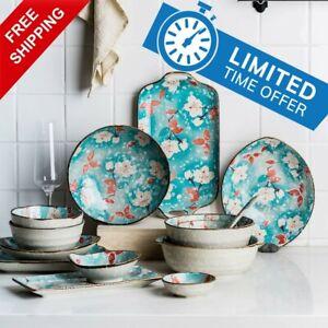 Japanese Style Ceramic Dinner Plate Dish Tableware Blue Flower Sushi Fish Saucer