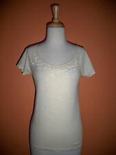 J Crew Womens Size XS Ivory Embellished Cap Sleeve Tee Shirt Top
