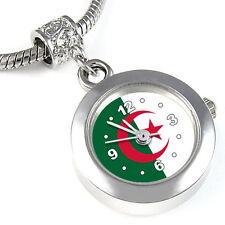 Algeria Flag Silver European Spacer Charm Bead Quartz Watch For Bracelet EBA196