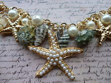 Gold Pearl Beach Sea Nautical Starfish Shell Kitsch Costume Jewellery Bracelet
