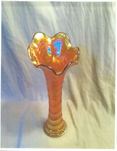 """Vintage Imperial Carnival Glass """"Ripple"""" 12"""" Vase- Amber with Clear Base- Estate"""