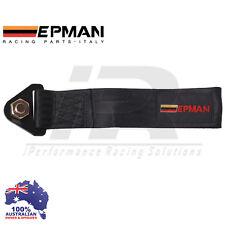 *BLACK* Universal Epman Tow Strap CAMS COMPLIANT Eye Hook Point Track Race JDM