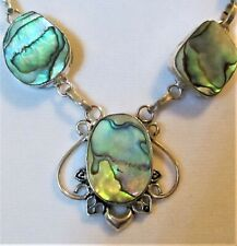Abalone Rainbow Cabochons~925 Stamped~Sterling Silver Necklace~DIVA~Blue Rainbow