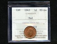 1943 Canada 1 Cent Coin Graded ICCS MS64 Red # XRT 732