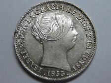 1853 BARCELONA 1 REAL SPAIN ISABEL II PLATA SPANISH PLATA SILVER ,.