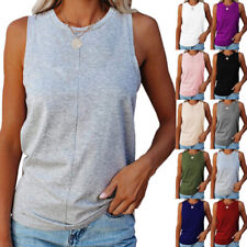 Womens Summer O Neck Sleeveless Tank Top Casual Loose Blouse Solid Beach T Shirt