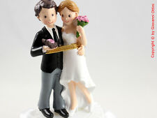 Cake Topper Matrimonio Sposi con Bouquet Rosa Statuina Sopra Torta Wedding C