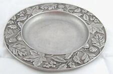 Longaberger 2001 Pewter Candle Plate Fall Leaves