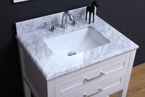 24 inch Traditional Freestanding White Bathroom Vanity with Marble Top