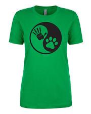 YING YANG Human Dog Bond Best Friend Love Loyal Treat Fun Women's Fitted T-Shirt