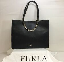 Furla Maggie Black Onyx Leather Tote Shoulder Bag With Chain Detail NWT