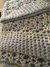 Handmade Crochet Extra Large Light Blue Blanket Afghan Loose Knit Euc