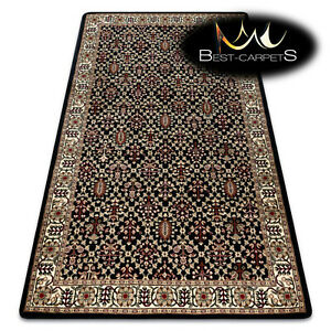 """TRADITIONAL Thick & Soft Classic RUGS """"ROYAL"""" Ornament vintage black / cream"""