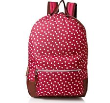 Big Girls BookBag BackPack Deep Dark Pink Polka Dots, Zipper Pouch, Brown Bottom