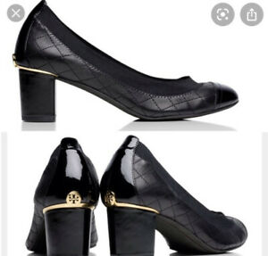 """Tory Burch """"Carrie"""" Quilted Leather Cap Toe Pumps Size 7.5"""