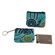 BUNABIRI Aboriginal Art Keychain Coin Purse - Blue Turtles