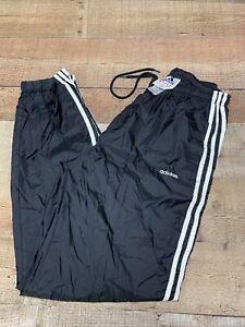 Vintage ADIDAS Trefoil Men's Track Pants Size Medium M Black White Stripes