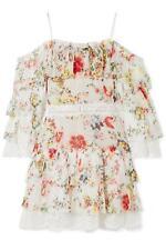 ALICE AND OLIVIA SANTOS COLD SHOULDER FLORAL PRINTED SILK DRESS US 8 UK 12