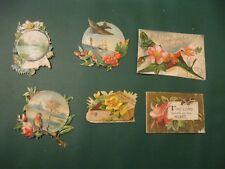 Victorian Trade Card 1800's Die Cuts Birds Robin Ship Religious Souvenir Mix D