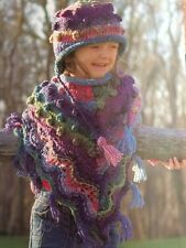 BK13 - Knitting Pattern - Girls Poncho Multi-coloured & Hat