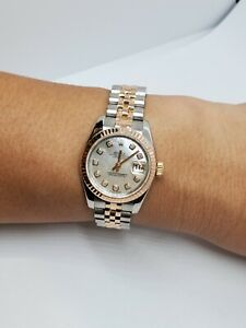 LADY'S ROLEX OYSTER PERPETUAL DATEJUST 18K ROSEGOLD/SS JUBILEE WATCH