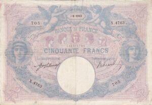 50 FRANCS BLEU ET ROSE DU 6-8-1913