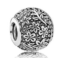 Sterling Silver Charm Epcot Floral Charms Fit European Charm Bracelet