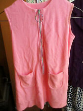 sz 10 true Vtg 1970s Penney Girls PINK RING ZIPPER POCKETS Hippy Summer Dress