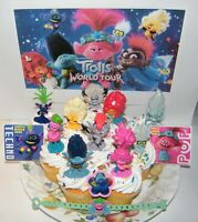 Trolls World Tour Movie Cake Toppers 14 Set with 10 Figures, 2 Stickers and More