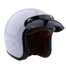 3/4 Casque de moto Open Face Vintage rétro blanc brillant S + Flat Black M