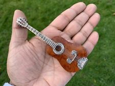 VINTAGE SILVER MINIATURE AND WOOD GUITAR, ITALY, RETRO 1970'S
