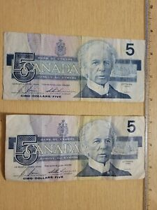 🇨🇦 Canada 5 dollars 1986 P-95c BC-56c Bonin Thiessen Banknote  QTY 2 072721-11