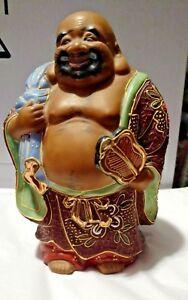 Old Japanese-Kutani SATSUMA-HAND EMBELLISHED HOTEI-STATUE SIGNED Porcelain RARE