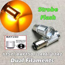 Strobe Flash Front Signal 1157 2057 3496 7528 SMD BAY15D Amber LED Bulb W1 AE