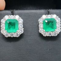 Hand Carved 2Ct Green Natural Emerald Diamond Halo Stud Earrings Jewelry Gift