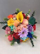 Damigelle d'onore Rainbow Spilla Peonie Fiori Misti Gerbera Calla Lily bouquet da sposa