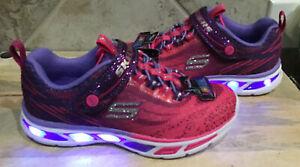 SKECHERS Girls' Sz 11 M Light-Up Sneakers Pink & Purple Cushioned NEW